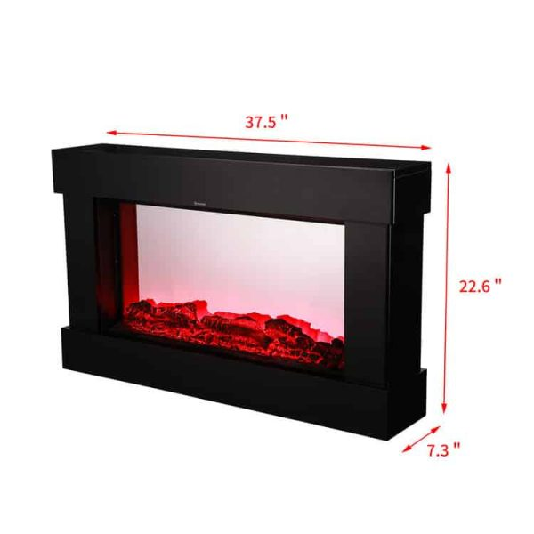 Ainfox Electric 3D Flame Fireplace Stove Infrared Heater ,with Adjustable Thermostat ,with Wall-mounted Black flat tempered glass front panel 3