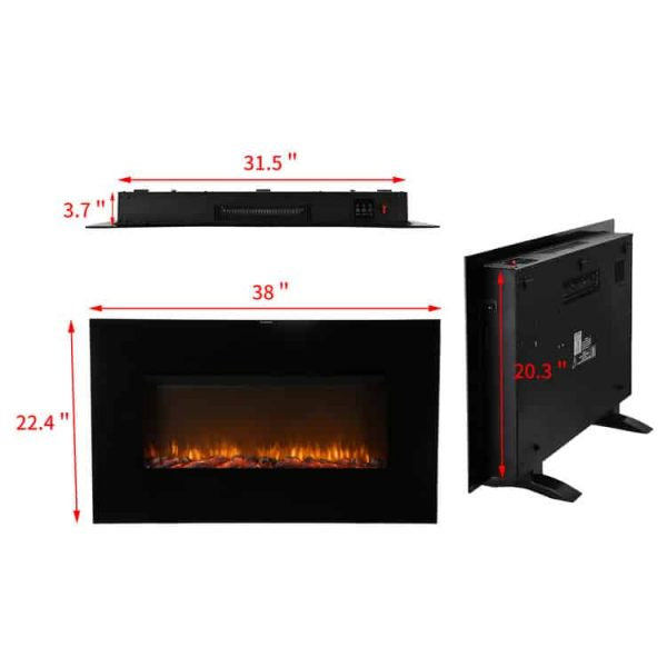 Ainfox Electrical Fireplace Heater Stove with Wall-Mounted Black Flat Tempered Glass Front Panel Remote Control 700W 1500W 1