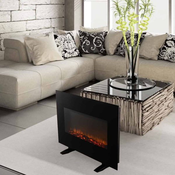 Ainfox Electrical Fireplace Heater Stove with Wall-Mounted Black Flat Tempered Glass Front Panel Remote Control 700W 1500W 11
