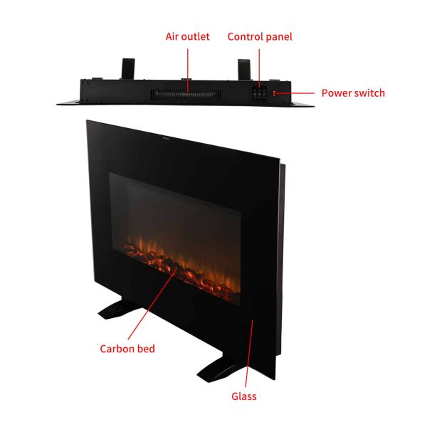 Ainfox Electrical Fireplace Heater Stove with Wall-Mounted Black Flat Tempered Glass Front Panel Remote Control 700W 1500W 12