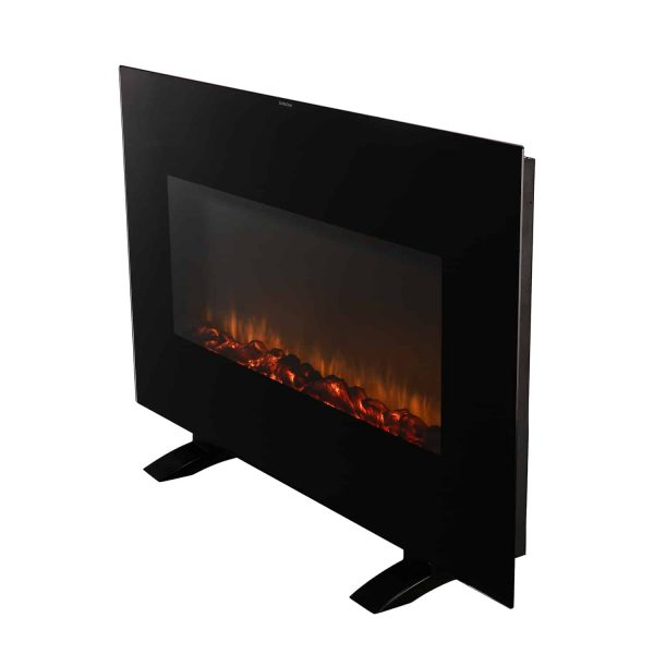 Ainfox Electrical Fireplace Heater Stove with Wall-Mounted Black Flat Tempered Glass Front Panel Remote Control 700W 1500W 2