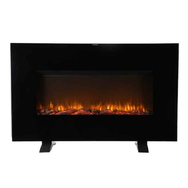 Ainfox Electrical Fireplace Heater Stove with Wall-Mounted Black Flat Tempered Glass Front Panel Remote Control 700W 1500W
