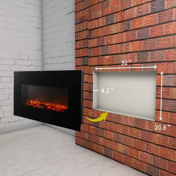 Ainfox Electrical Fireplace Heater Stove with Wall-Mounted Black Flat Tempered Glass Front Panel Remote Control 700W 1500W 9