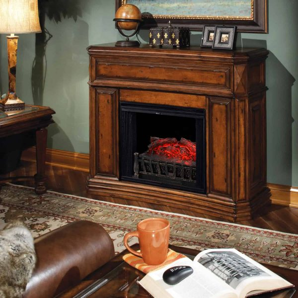 Ainfox Electrical Log Set Fireplace Stove Heater,With Realistic Ember Bed Remote control Overheat protection 1500W Black 8