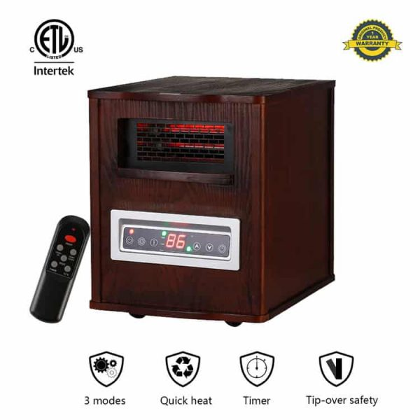 Ainfox Portable Electric Space Heater 1000W-1500W Infrared Zone Heating Systems with Thermostat Tip-Over and Overheat Protection Remote Control 12hr Timer & Filter (Brown) 1