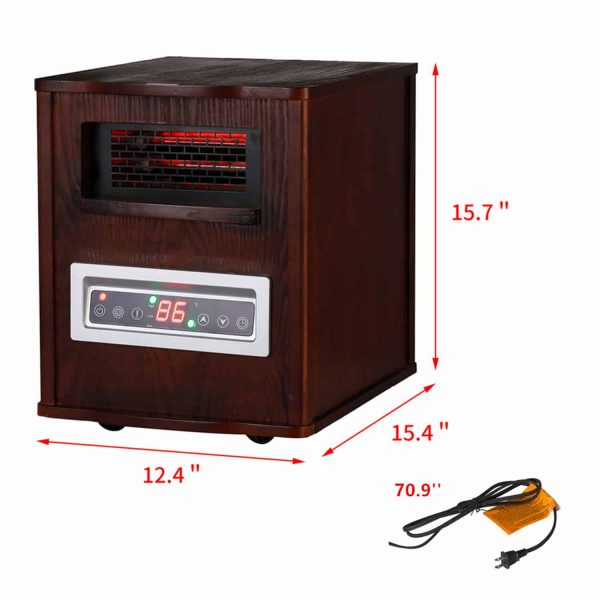 Ainfox Portable Electric Space Heater 1000W-1500W Infrared Zone Heating Systems with Thermostat Tip-Over and Overheat Protection Remote Control 12hr Timer & Filter (Brown) 3
