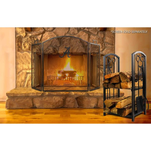 Alabama Crimson Tide Imperial Fireplace Wood Holder & Tool Set - Brown 2