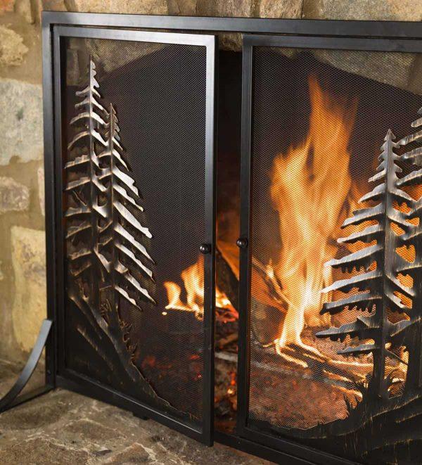 Alpine Large Heavy Duty Steel Fireplace Fire Screen with Doors 2