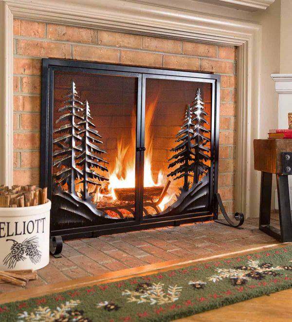 Alpine Large Heavy Duty Steel Fireplace Fire Screen with Doors 3