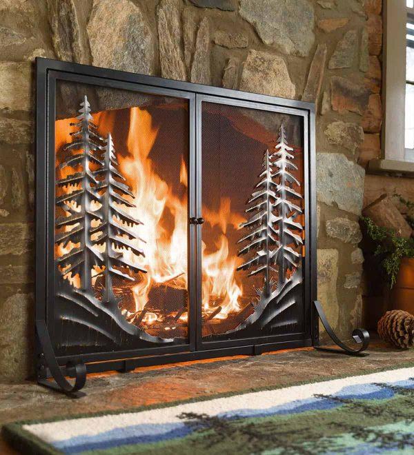 Alpine Large Heavy Duty Steel Fireplace Fire Screen with Doors 4