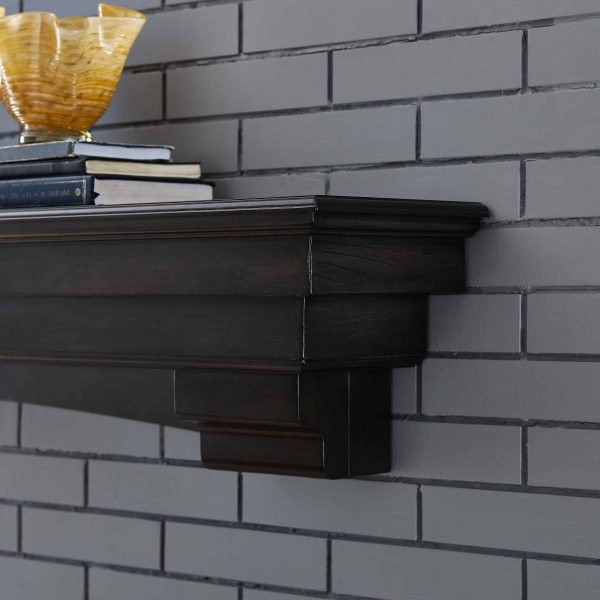 Alvin Fireplace Mantel Shelf, Traditional, Smoked Ash 9