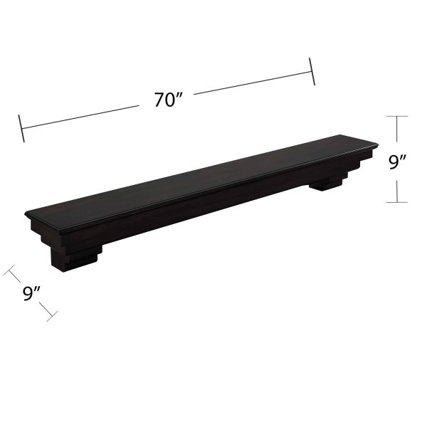 Alvin Fireplace Mantel Shelf, Traditional, Smoked Ash 2