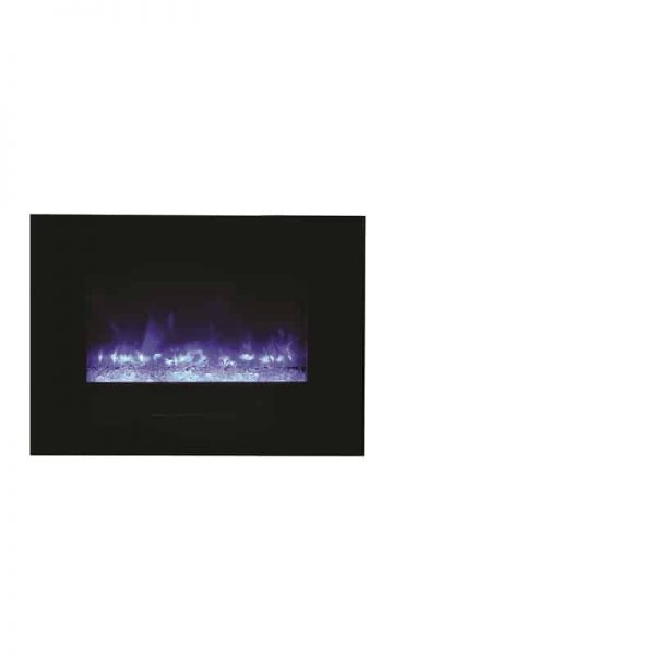 "Amantii 26"" Flush Mount fireplace with Black Glass Surround Log set 1"