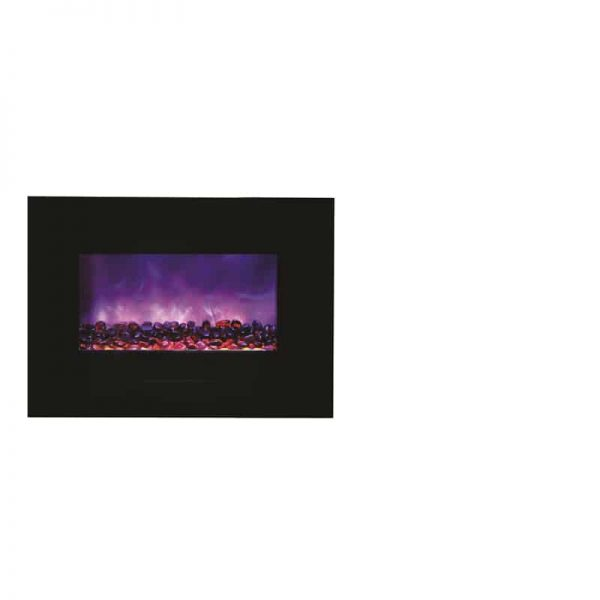 "Amantii 26"" Flush Mount fireplace with Black Glass Surround Log set 2"