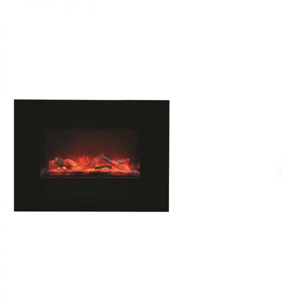 "Amantii 26"" Flush Mount fireplace with Black Glass Surround Log set 3"