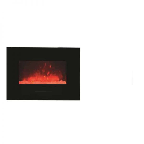 "Amantii 26"" Flush Mount fireplace with Black Glass Surround Log set 4"