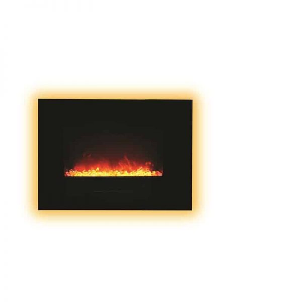 "Amantii 26"" Flush Mount fireplace with Black Glass Surround Log set 5"