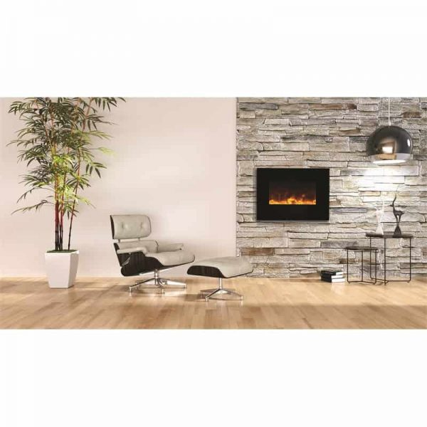 "Amantii 26"" Flush Mount fireplace with Black Glass Surround Log set"