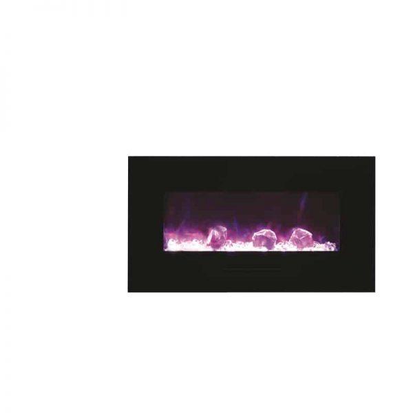 """Amantii 34"""" Flush Mount fireplace with Black Glass Surround Log set 1"""