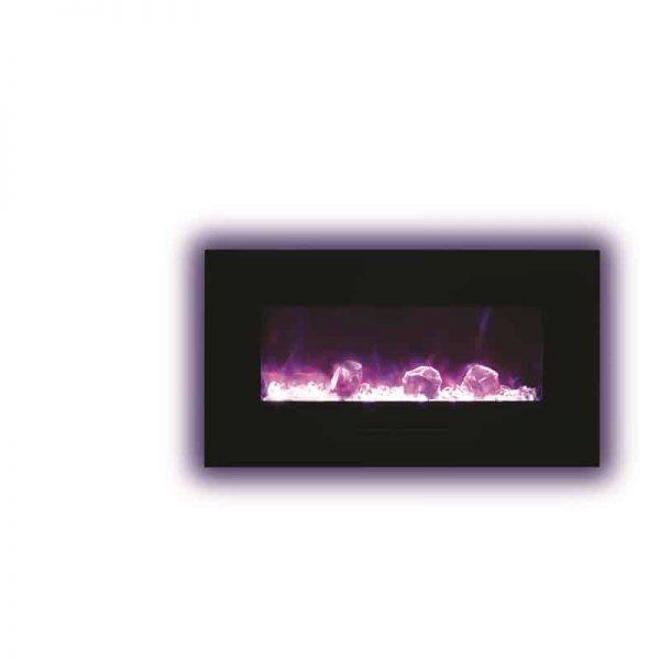 """Amantii 34"""" Flush Mount fireplace with Black Glass Surround Log set 2"""