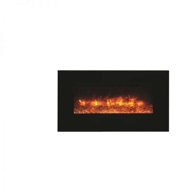 """Amantii 34"""" Flush Mount fireplace with Black Glass Surround Log set 3"""