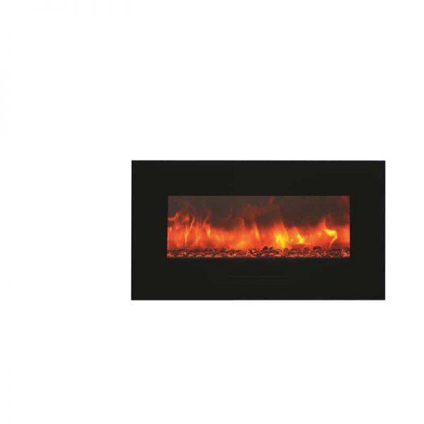 """Amantii 34"""" Flush Mount fireplace with Black Glass Surround Log set 4"""