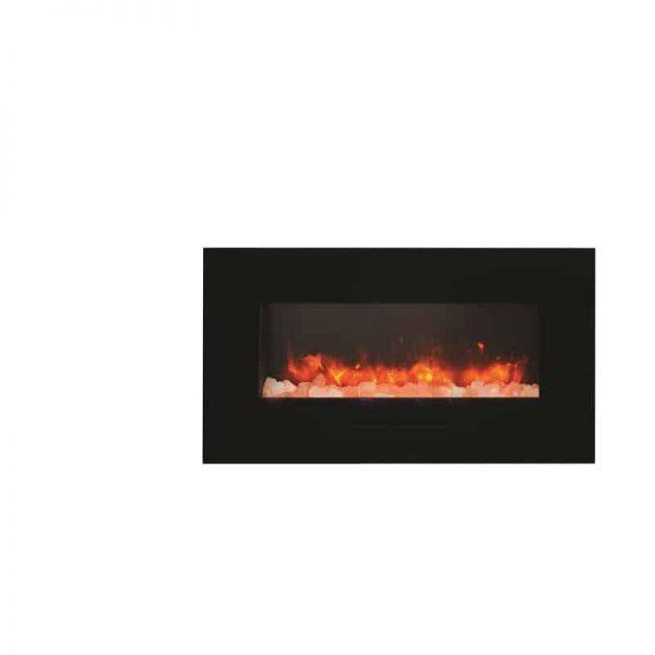 """Amantii 34"""" Flush Mount fireplace with Black Glass Surround Log set 5"""
