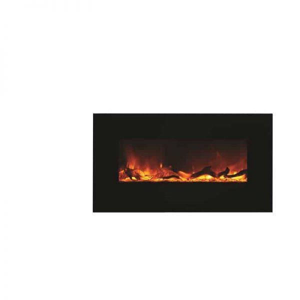 """Amantii 34"""" Flush Mount fireplace with Black Glass Surround Log set 6"""