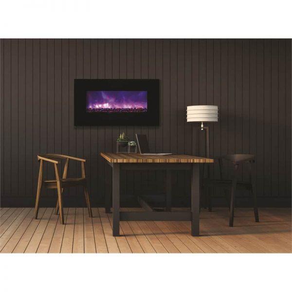 """Amantii 34"""" Flush Mount fireplace with Black Glass Surround Log set"""