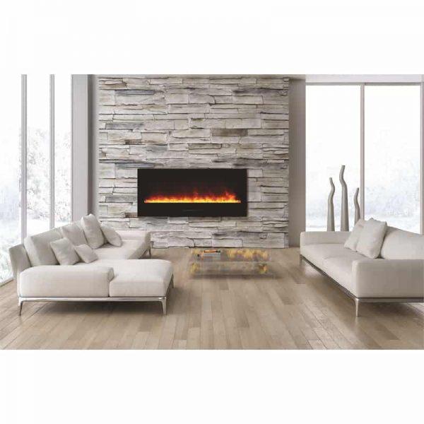 "Amantii 50"" fireplace with black glass surround"