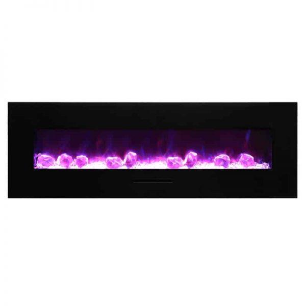 """Amantii 60"""" Flush Mount fireplace with Black Glass Surround Log set 1"""