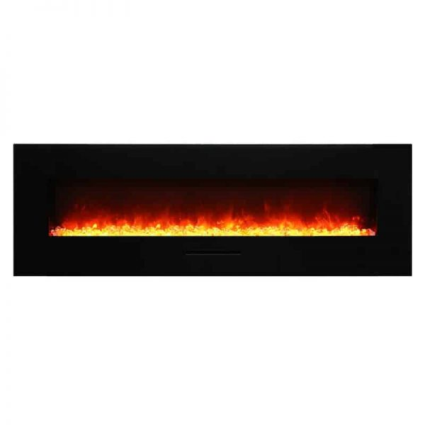 """Amantii 60"""" Flush Mount fireplace with Black Glass Surround Log set 2"""