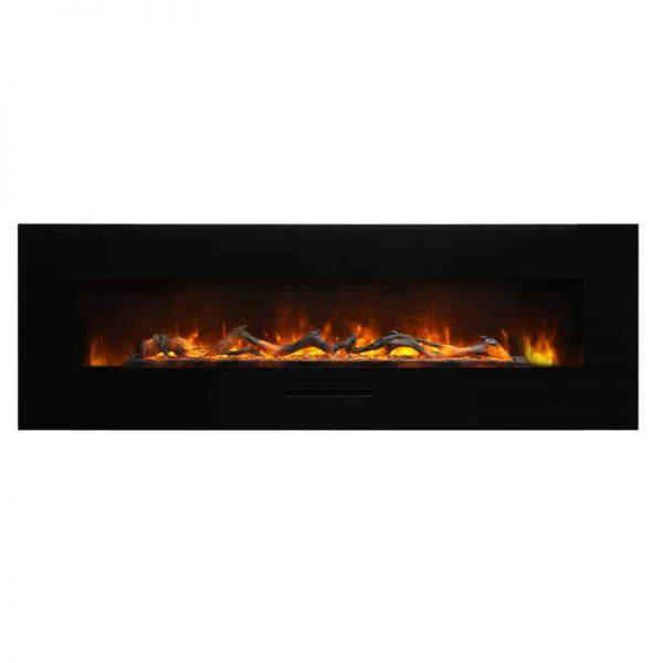 """Amantii 60"""" Flush Mount fireplace with Black Glass Surround Log set 3"""