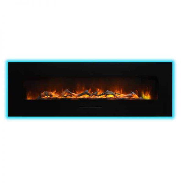 """Amantii 60"""" Flush Mount fireplace with Black Glass Surround Log set 4"""