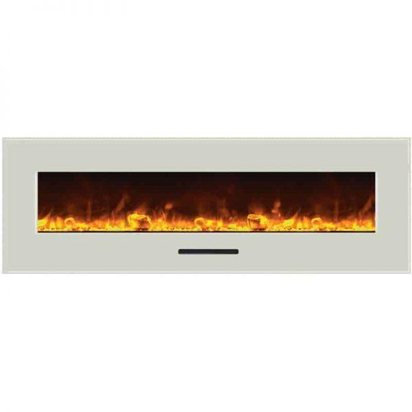 """Amantii 60"""" Flush Mount fireplace with Black Glass Surround Log set 5"""