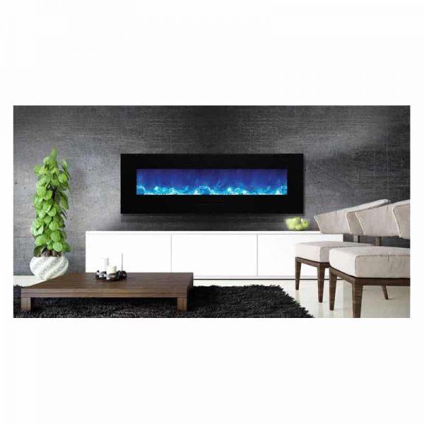 """Amantii 60"""" Flush Mount fireplace with Black Glass Surround Log set"""