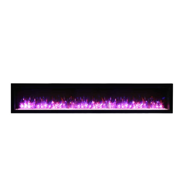 Amantii Basic Clean Face Built-In Electric Fireplace with Glass and Black Steel Surround