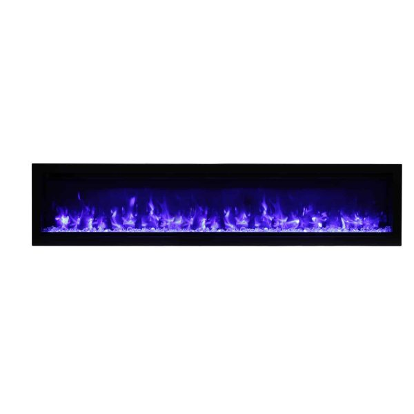 Amantii Clean Face Built-In Electric Fireplace with Media and Black Steel Surround