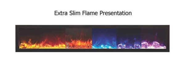 """Amantii Panorama Indoor/Outdoor Extra Slim Built In Electric Fireplace, 60"""" 1"""