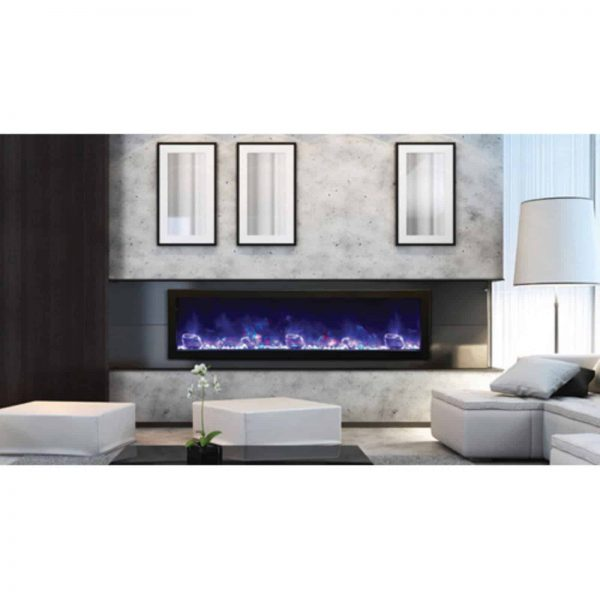 Amantii Panorama Slim Electric Wall Mount Fireplace with Black Surround 1