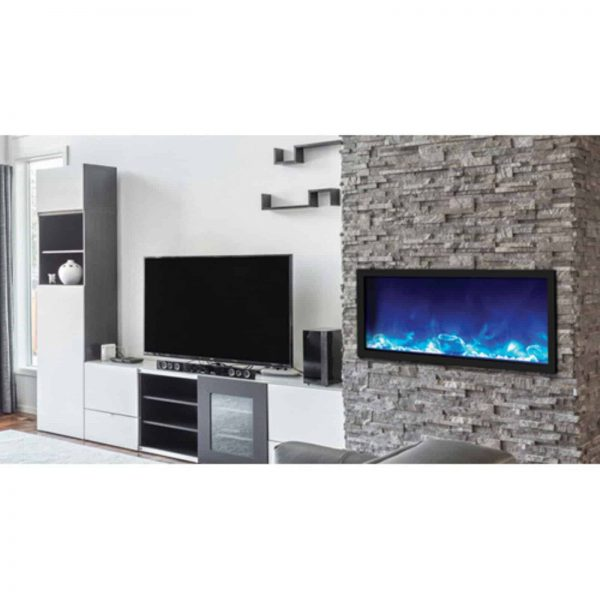 Amantii Panorama Slim Electric Wall Mount Fireplace with Black Surround 3
