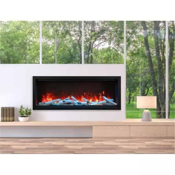 Amantii SYM-60-XT 60 in. Extra Tall Clean-Face Electric Built-In with Black Steel Surround