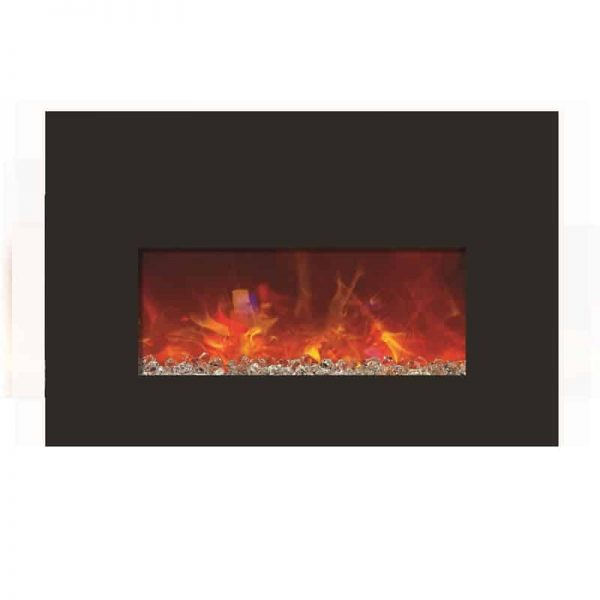Amantii Small Insert Electric Fireplace with Black Glass Surround 1