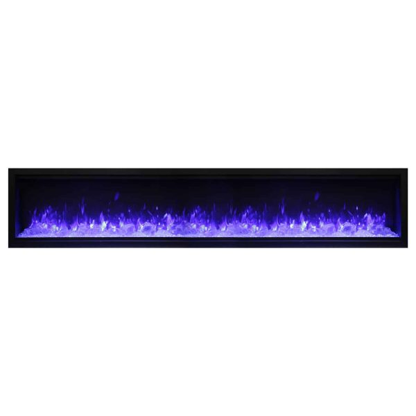 Amantii Symmetry Extra Tall Built-In Electric Fireplace with Black Steel Surround and ICE Media