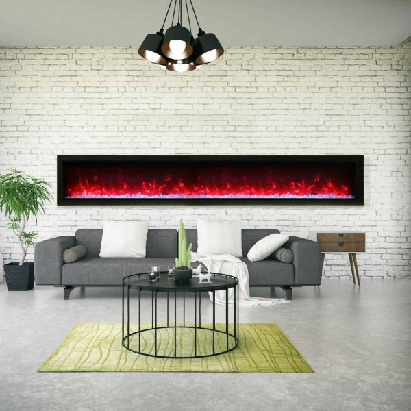 Amantii Symmetry Series 100-Inch Built-In Electric Fireplace with Black Steel Surround