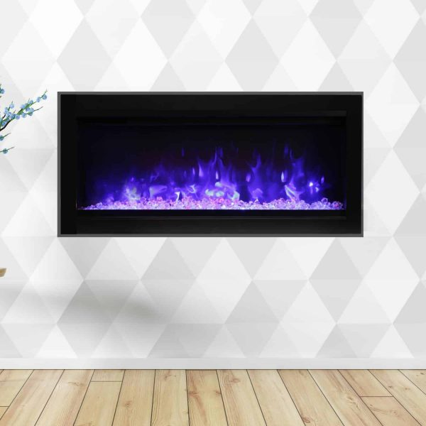 Amantii Symmetry Series 34-Inch Built-In Electric Fireplace with Black Steel Surround