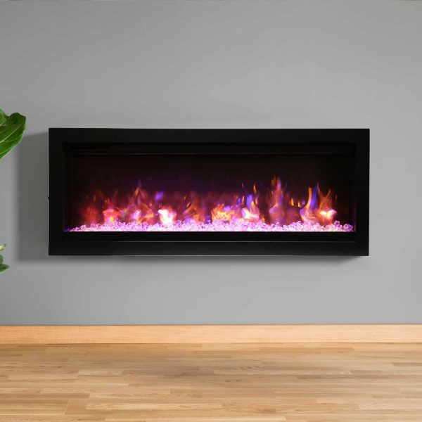 Amantii Symmetry Series 42-Inch Built-In Electric Fireplace with Black Steel Surround