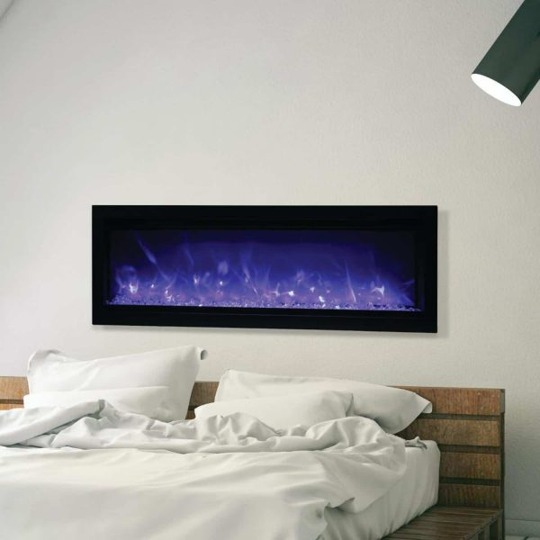 Amantii Symmetry Series 50-Inch Built-In Electric Fireplace with Black Steel Surround