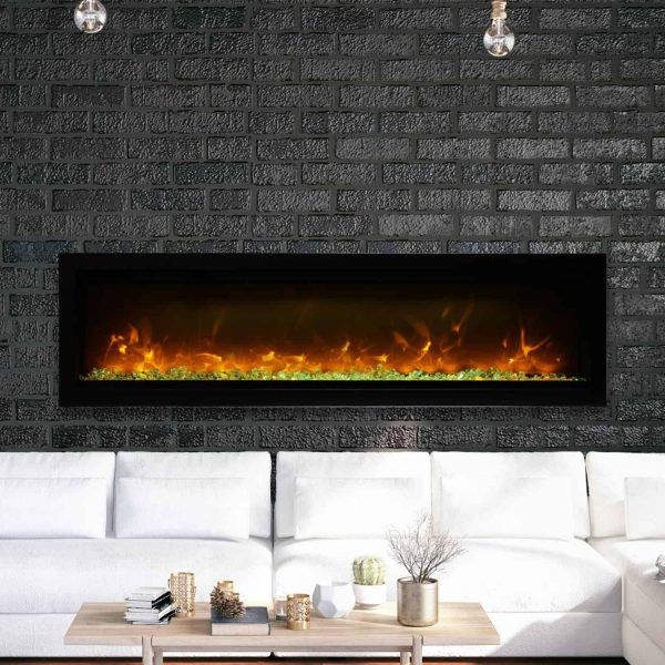Amantii Symmetry Series 60-Inch Built-In Electric Fireplace with Black Steel Surround