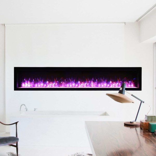 Amantii Symmetry Series 88-Inch Built-In Electric Fireplace with Black Steel Surround